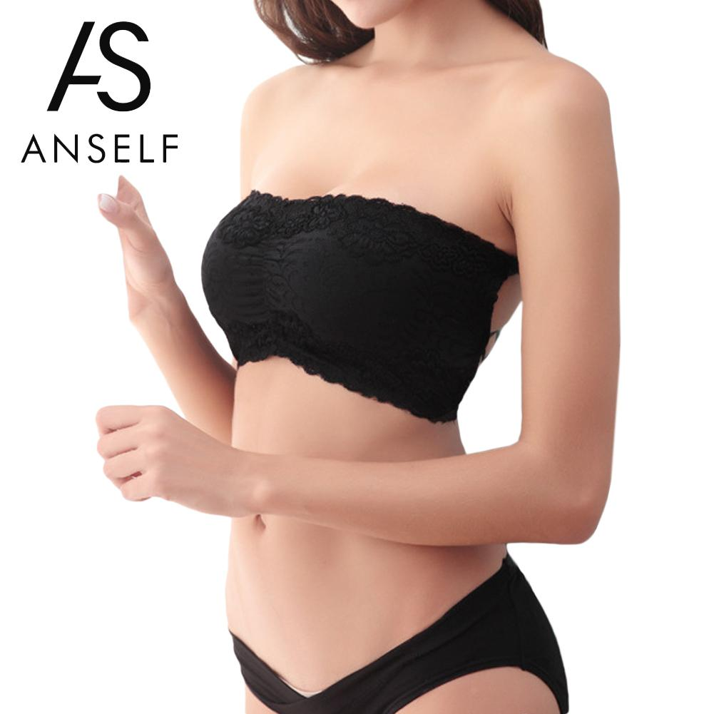 d66aed58cc ANSELF 2019 Hot Women Tops Sexy Lace Bra Underwear Push Up Strapless Chest  Wrap Bandeau Padded Bra Strapless Stretch Tube Top-in Tube Tops from  Underwear ...