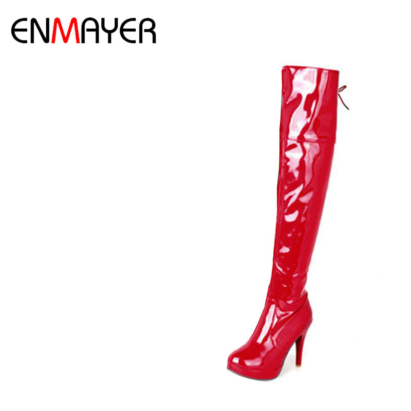 ENMAYER Big size 34-43 Women Knee Boots Sexy High Heels White Shoes Platform Round Toe Buckle Over the Knee Boots Winter Shoes fashion women half knee high boots solid buckle metal round toe platform wedge shoes 3 colors large size 34 43