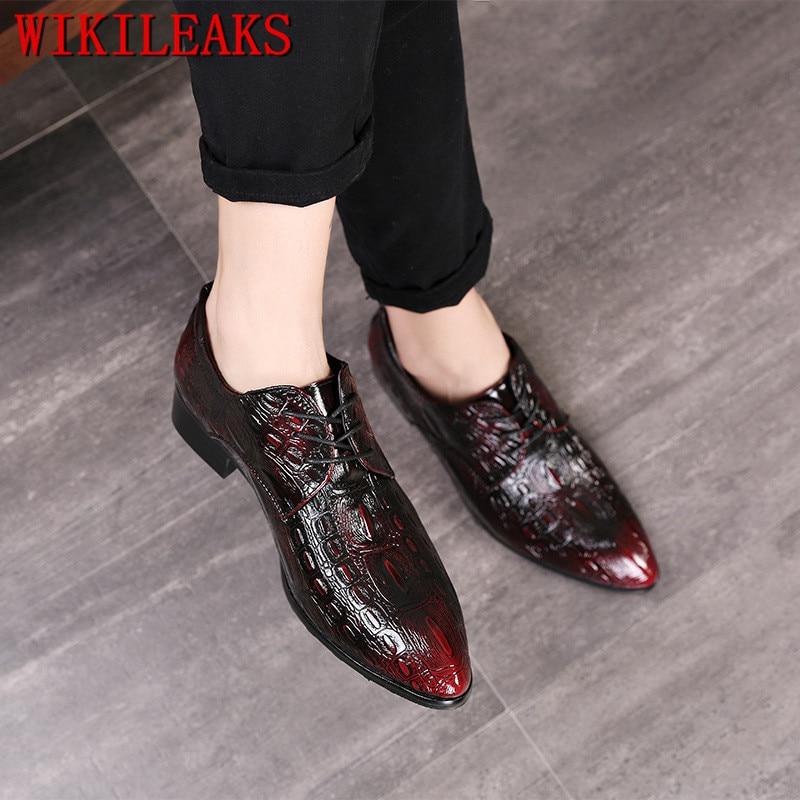 Escritório Oxford Sapatos 2 Sociais Apontou Casamento Formal Toe De Sapato Crocodilo Couro 3 Designer Vestido Masculino Homens 1 Para 7fCWq