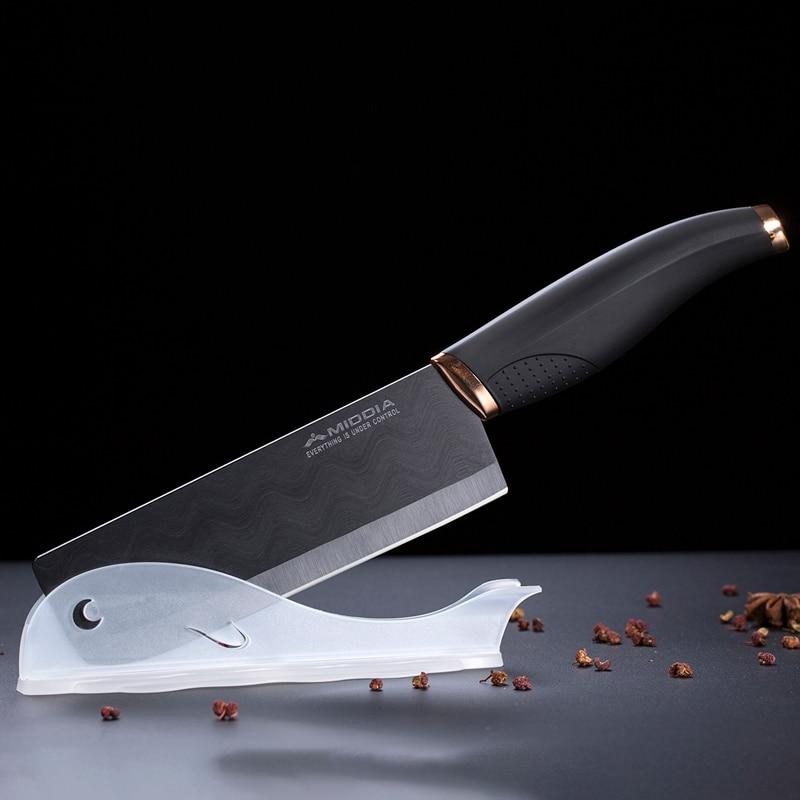 Nový design 6 palcový matný černý keramický kuchyňský sekaček na krájení nožů Nůž kuchařský nůž s pochvou