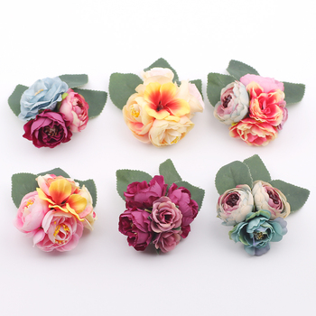 Hair accessory fabric peony big flower corsage brooch child full dress work wear hat for Kids party Photography