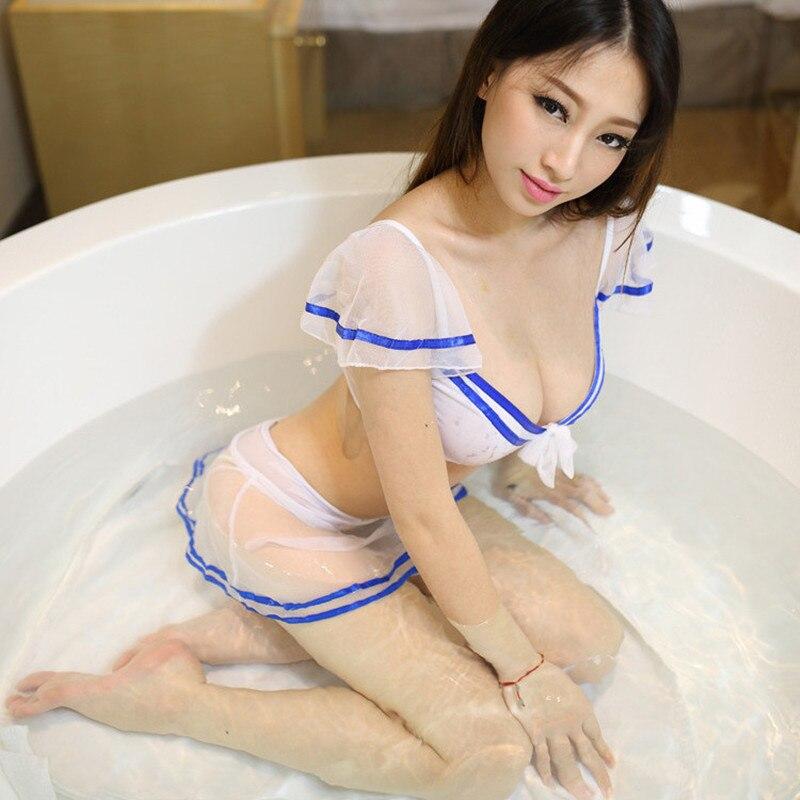 Top+Skirt+G-sting Role Play Uniform Cosplay Sailor/School Uniform Sexy Lingerie Women Costume Women Sexy