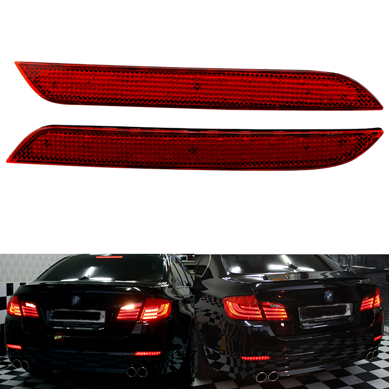 Car LED Rear Bumper Reflector Red Parking Warning Stop Brake Lights Tail Lamp For 011-14 BMW F10 F11 F18 5-series 528i/535i/550i universal brake lights 48 led red car auto third brake lights fog stop rear tail warning lamp bulb for dc12v parking