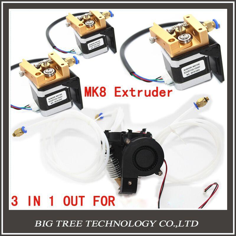 Diamond Hotend Extruder Full kit Lite6 Brass Multi Nozzle 3 IN 1 OUT 0.4mm For1.75mm with MK8 step motor full kit