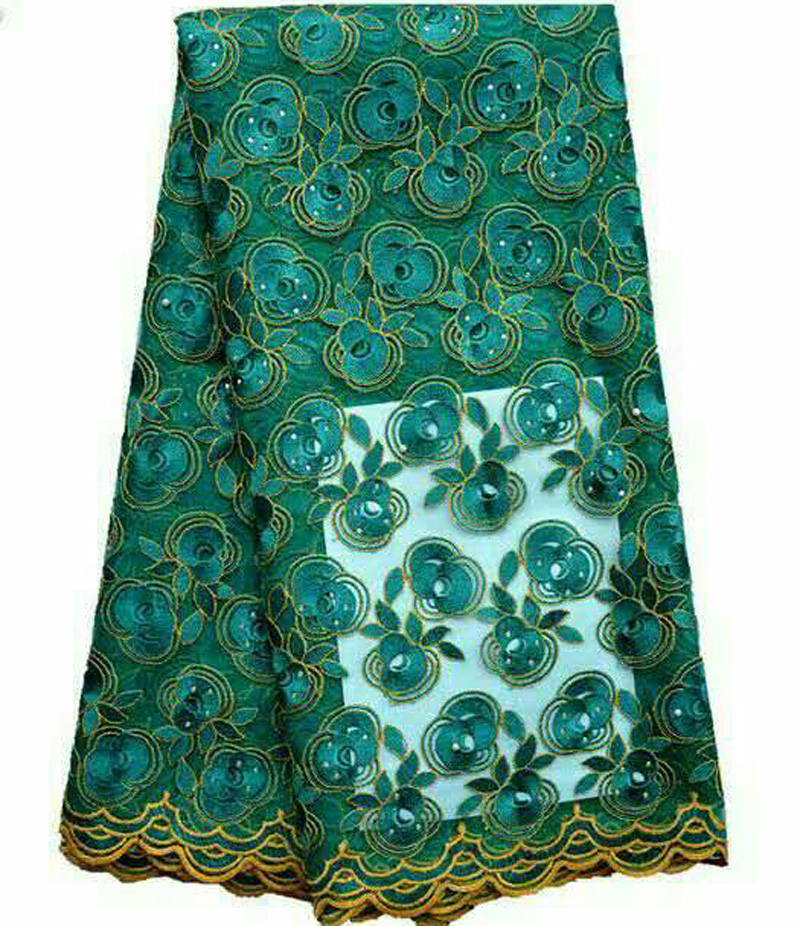 New fashion teal green African nigerian lace fabric with beads for party&wedding dress 5 yards/pcFrench net lace fabric!QA314