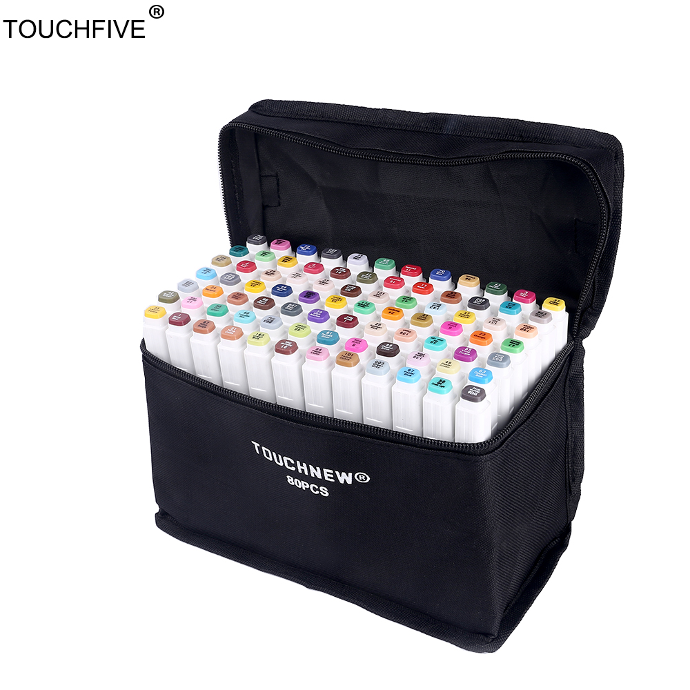 TouchFIVE 60/80/168 Colors set Art Markers alcohol Dual Headed graffiti pen markers pen For Animation Manga Design touchfive 30 40 60 80 168 colors marker set sketch markers brush pen dual head art markers set for draw manga animation design