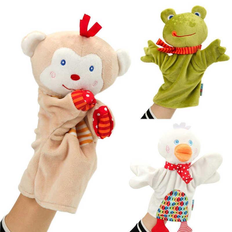 Śliczne pacynka na rękę ze zwierzęciem pluszowa żaba małpa wisząca lalka marionetka zabawki edukacyjne dla dzieci marionetki Fantoche Puppets