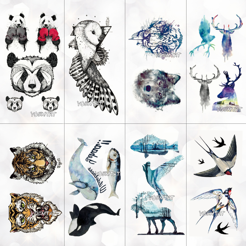 Small Black Tattoo For Men Women Body Hands Finger Art Makeup Party Watercolor Tattoo Galaxy Wolf Whale Tatoo Stickers Kids