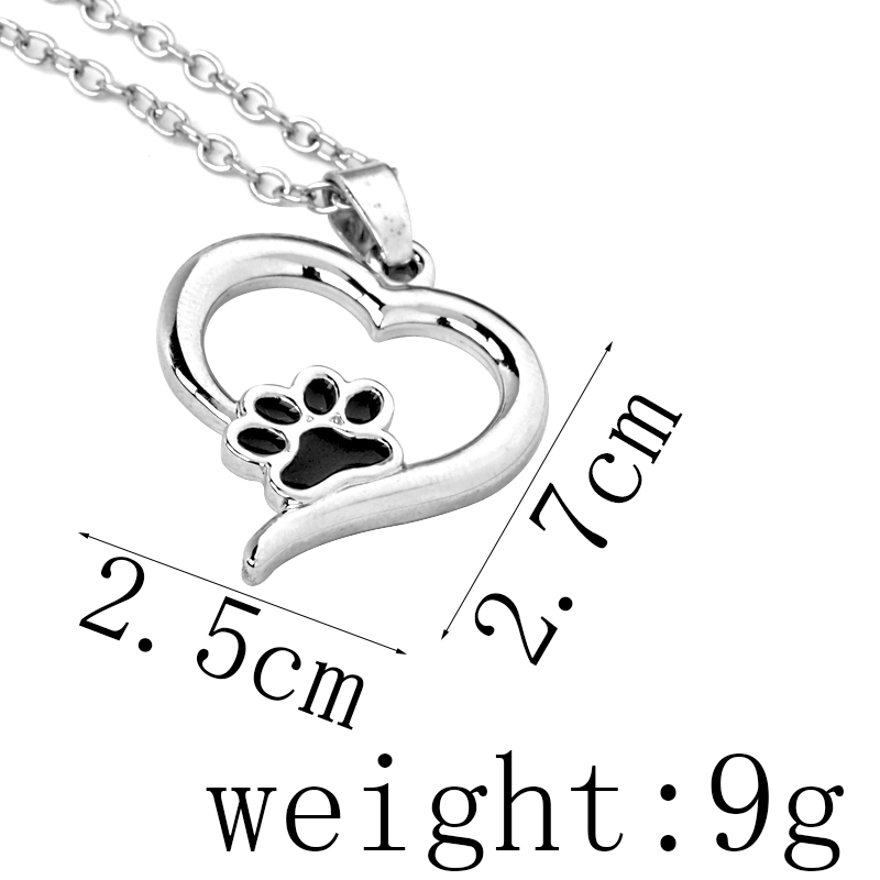Hollow Pet Paw Prints Necklaces Cute Animal Dog cat Memorial jewelry Pet Lover Puppy Paw Heart Charm Black Enamel Necklace Girls 5