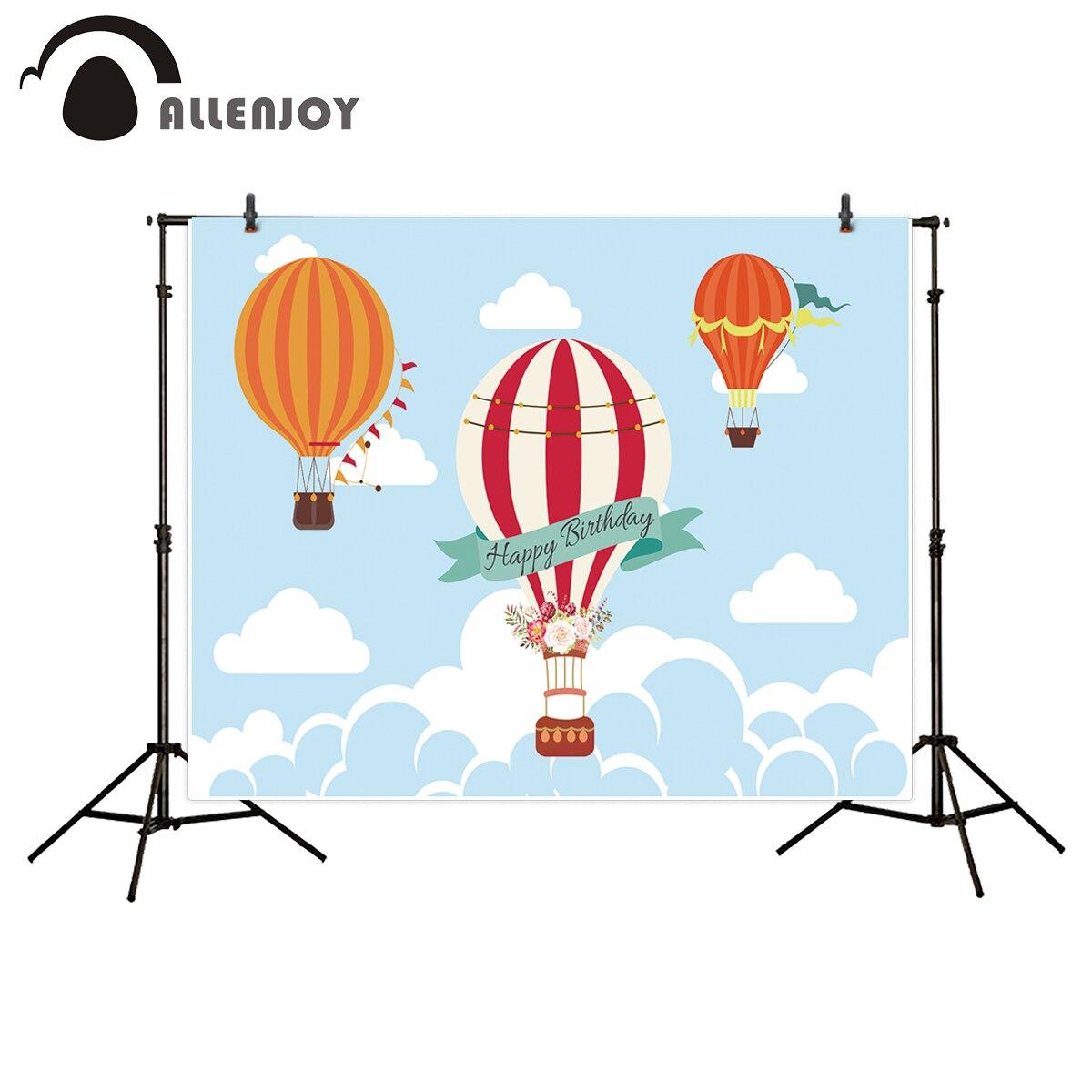 Allenjoy photography backdrop Sky blue hot air balloon child birthday celebration new background photocall customize photo print allenjoy children birthday celebration