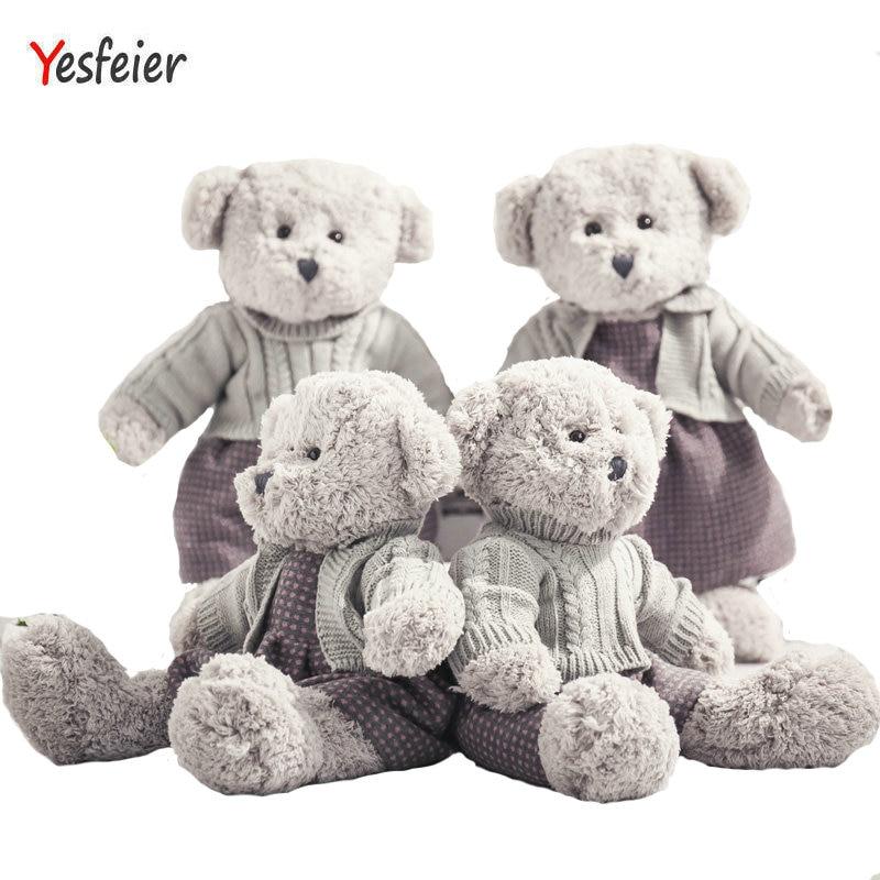 45/55cm Cute new style gray bear plush toys lovers bear doll stuffed animals pillow baby cushion birthday gift pernycess 1pcs 130cm bear cute oversized pillow stuffed toys