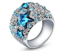 Austria Crystal Blue Star Ring Made With Swarovski Elements White Gold Plate Party Masquerade Vintage Jewelry Brand Ring RJZ0023