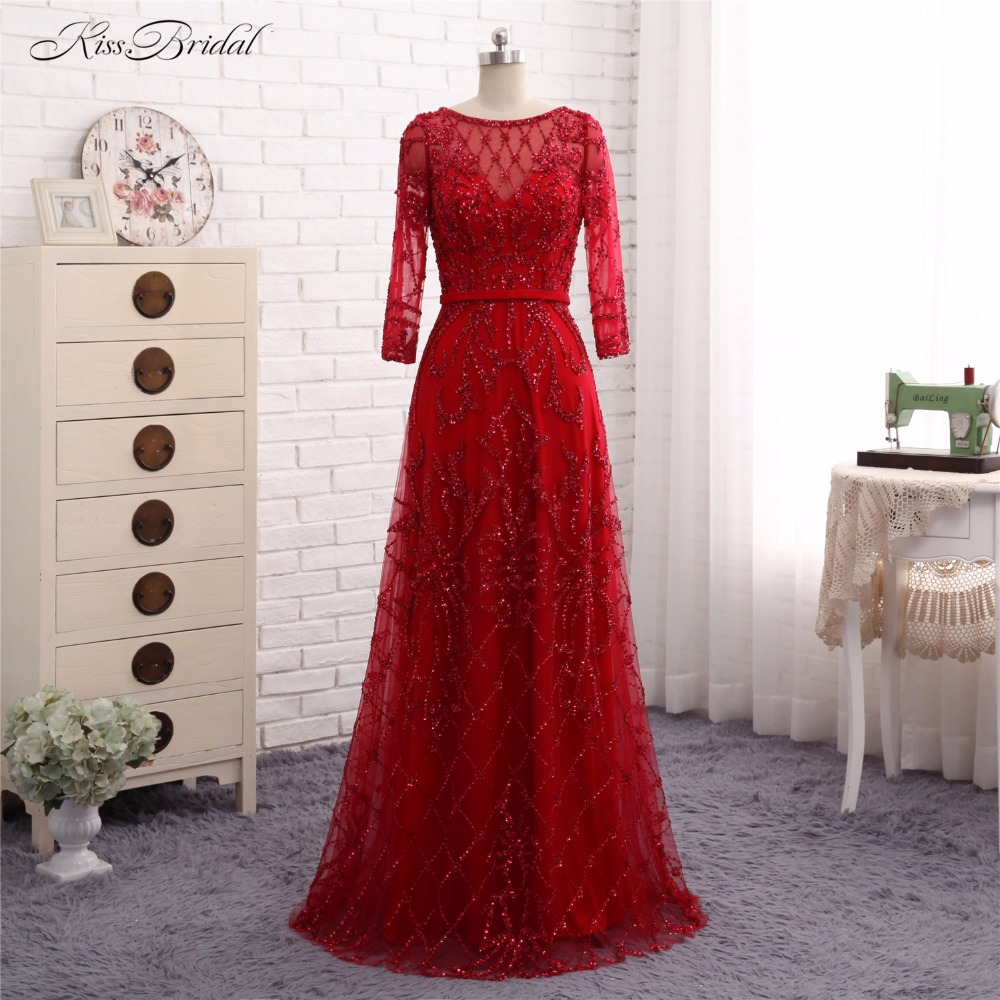 Long Sleeve   Evening     Dresses   2017 Abendkleider A Line Scalloped Crystal Bead Formal Party Prom Gown Vestido de Festa