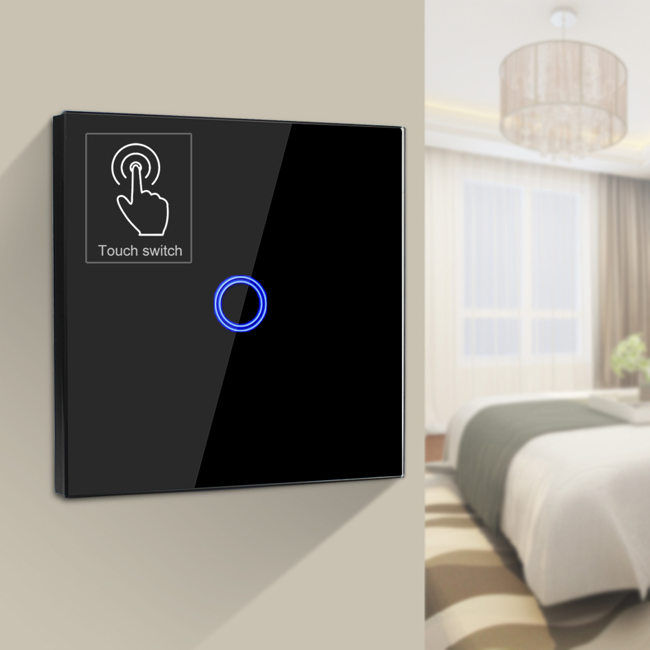 EU Standard Wall Touch Switch with Wireless Remote Control / No remote Switches 1 Gang 1 Way Touch Light Switch Wall AC 170-250V wall switch eu standard triple touch switch with remote