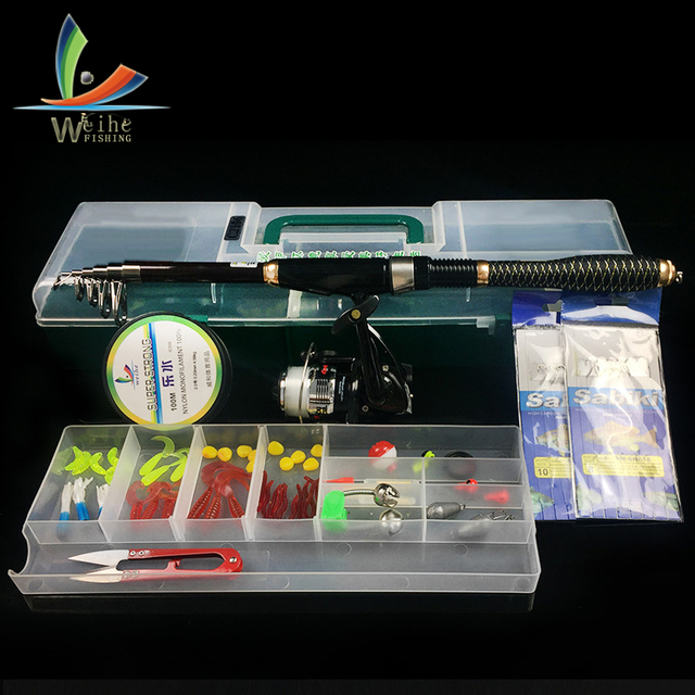 56 pcs 1.8m Telescopic Fishing Rod Reel Combo Full Kits Spinning Reel Pole With Top Water Lure Swivel Tool Set In Box Accessorie