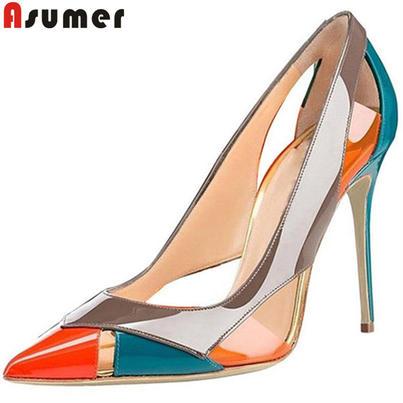 ASUMER Large size 34-45 fashion spring autumn shoes woman pointed toe pumps women shoes mixed colors high heels shoes wedding ASUMER Large size 34-45 fashion spring autumn shoes woman pointed toe pumps women shoes mixed colors high heels shoes wedding