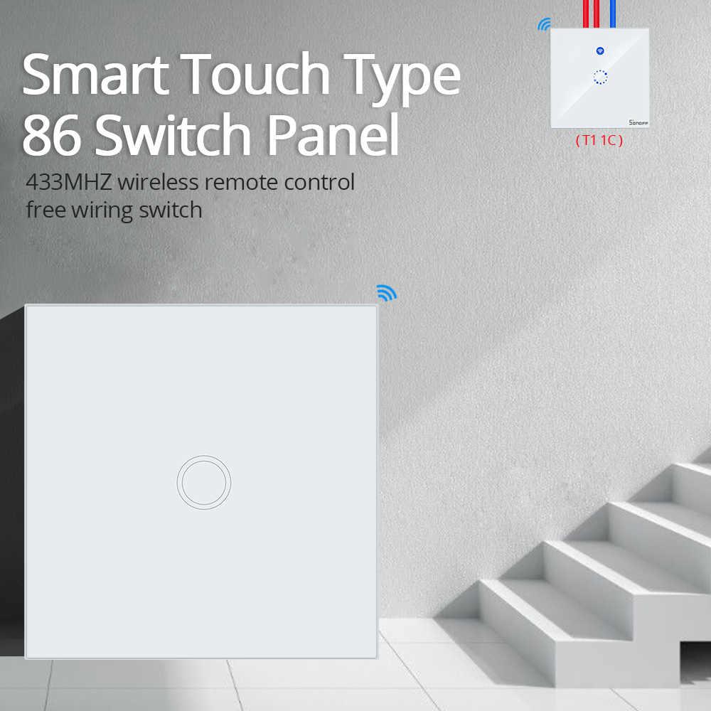 SONOFF T433 86 tipo 433 mhz RF Control remoto de pared LED Luz de cristal Touch Panel interruptor Wifi inalámbrico controlador inteligente casa de Google