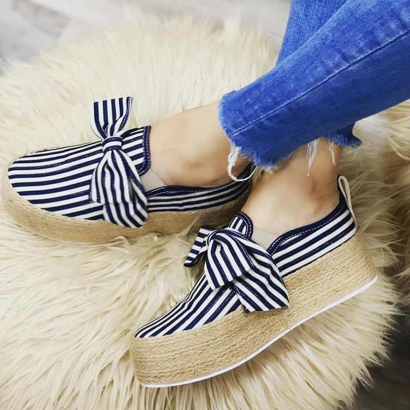 2019 אביב נשים דירות נעלי פלטפורמת סניקרס להחליק על דירות עור זמש גבירותיי ופרס מוקסינים נעליים יומיומיות