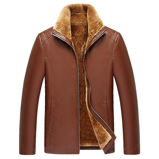 Leather Jacket Men Faux Fur Winter Warm Fleece Thick Brown Slim Motorcycle Leather Jackets And Coats Fashion Men'S Clothing