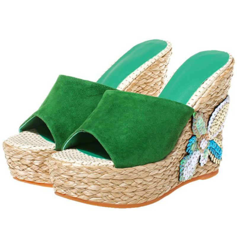ФОТО Classic summer 2017 women Real sheepskin high wedges heels sandals shoes genuine leather ladies green  flowers slippers slides