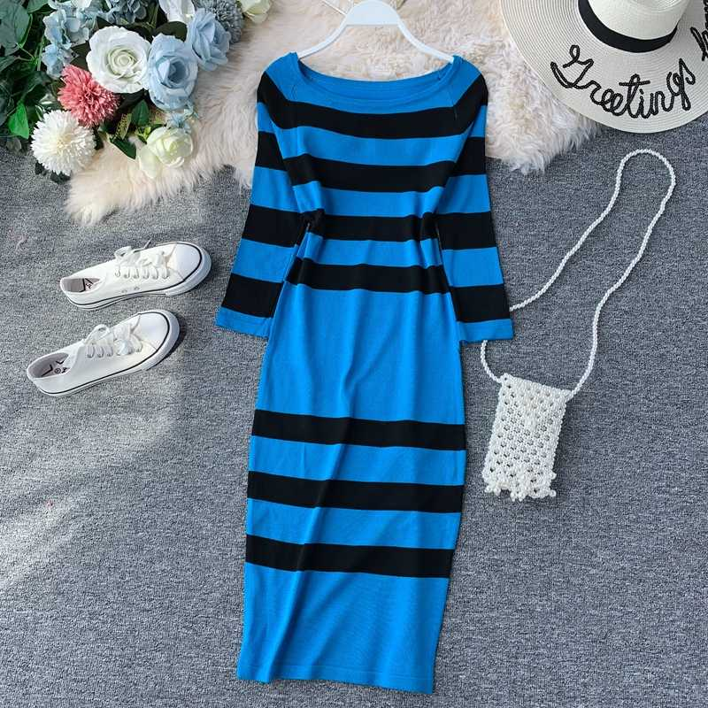 Vintage Slim Ladies Autumn Striped Print Bodycon Knit Sweater Midi Long Dress Party Women Casual Sheath 3/4 Sleeve Vestidos