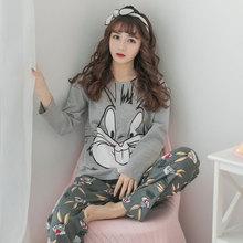 Pajama sets women long sleeved sleepwear autumn Thin Sweet cartoon Suit Maam cute Pyjamas family clothes new arrival 2018