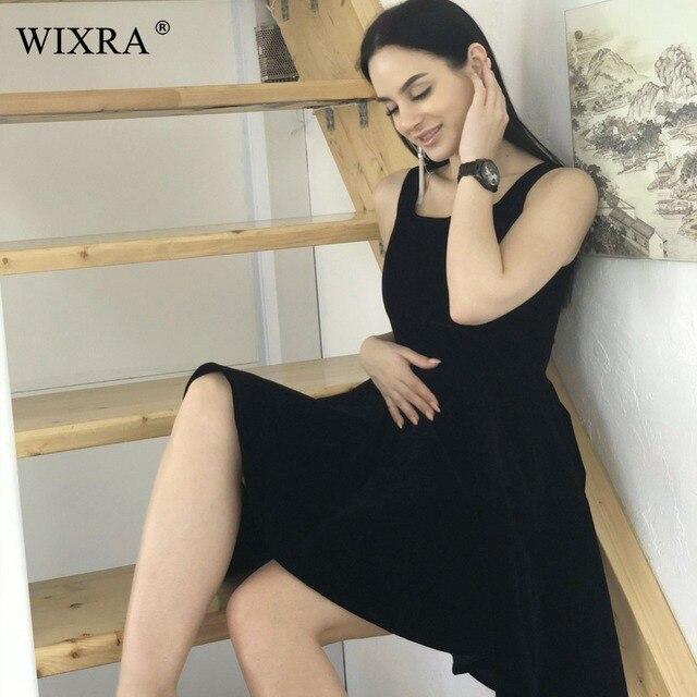 WIXRA Basic Tank Dress 2018 Black Slash Neck Sleeveless Elegant A-Line Ball Gown Women Sexy Spring Pleated Knee-Length Dresses