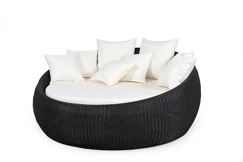 Hot Sale Outdoor Round Rattan Folding Sofa Bed Sg 181c In Sun