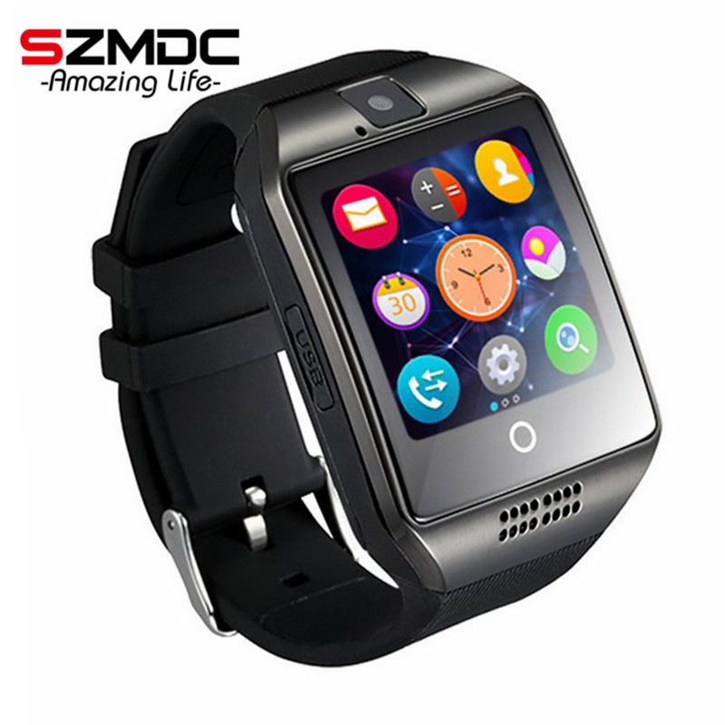imágenes para 2017 Reloj Inteligente Caliente Q18 Reloj SIM/TF para Iphone Android cámara Bluetooth Reloj Smartwatch Teléfono PK GV18 GT08 GV09 M26 U8