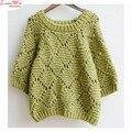 Три четверти рукав горит зеленым свободного покроя женщин свитер Большой размер maglia