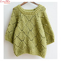 three quarter sleeve solid green casual women sweater plus size maglia