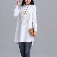 חם חדש מוסלמי כפתורים לטוס לבן פסים צבע חולצות מקרית ארוכות נשים לעמוד צווארון רופף חולצות עם שרוולים ארוכים מכותנה