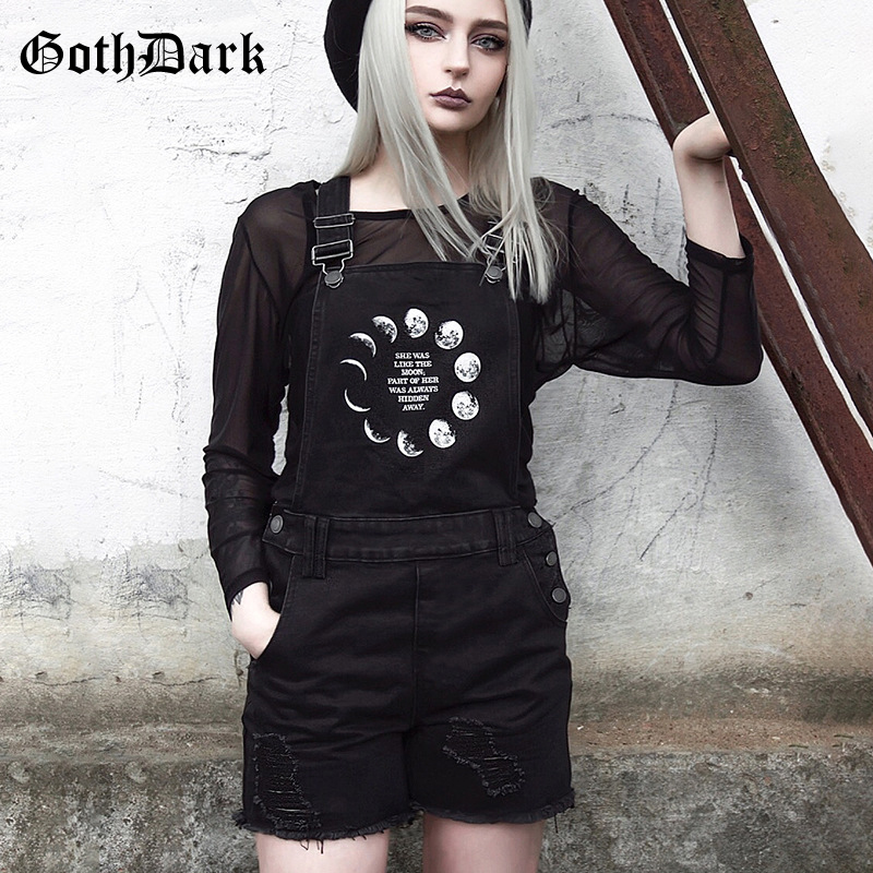 Goth Dark Gothic Grunge Black Female   shorts   Vintage Hole Rivet Pockets Harajuku High Waist Overalls Autumn 2019 Print Fashion