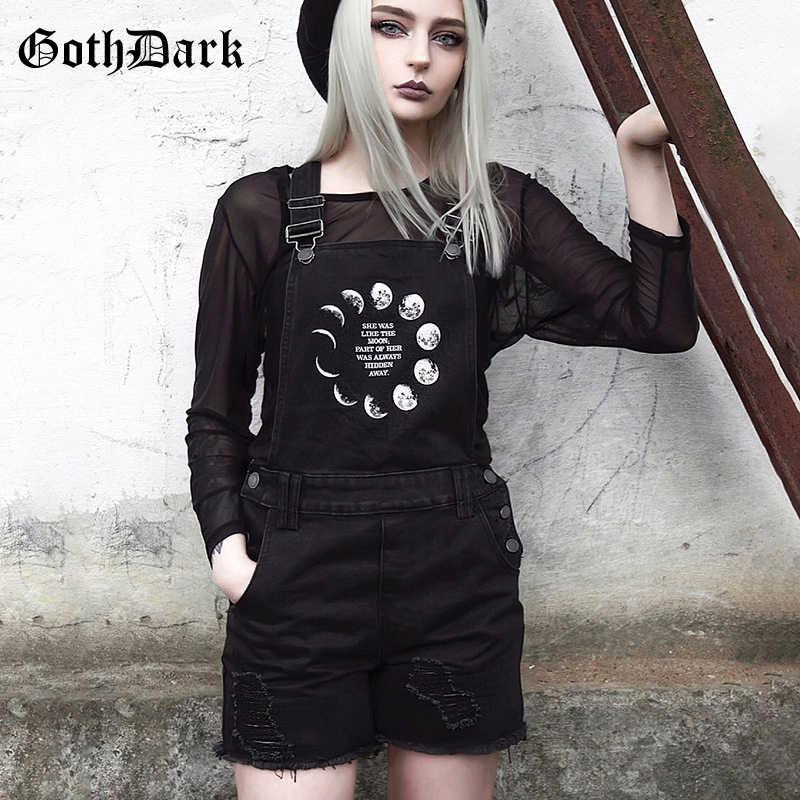Goth koyu gotik Grunge siyah kadın şort Vintage delik perçin cepler Harajuku yüksek bel tulum sonbahar 2019 baskı moda