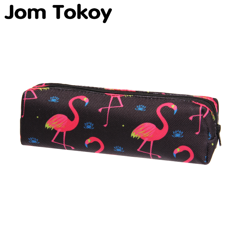 Jom Tokoy 3D Print Cosmetic Bag  2019 The New Women Flamingo Makeup Bag Stationery Pouch Kids School Pencil Bag