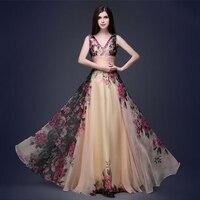 Fenghua Sleeveless Chiffon Summer Dress Women 2018 Sexy V Neck Floral Dress Female Elegant Slim Ball