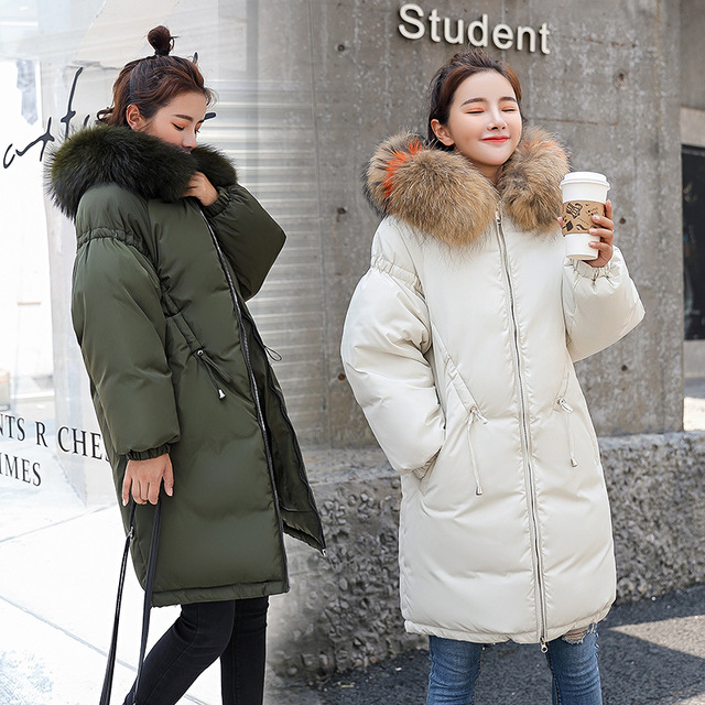Hooded Fur Collar Winter Down Coat Jacket Long Warm Women Cotton-padded Casaco Feminino Abrigos Mujer Invierno Wadded Parkas 89