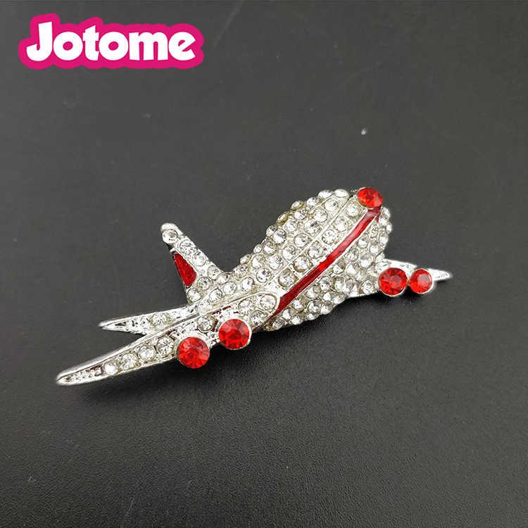 10 шт./партия, бесплатная доставка, серебряный тон, разные цвета, Хрустальный самолет, брошь, булавки
