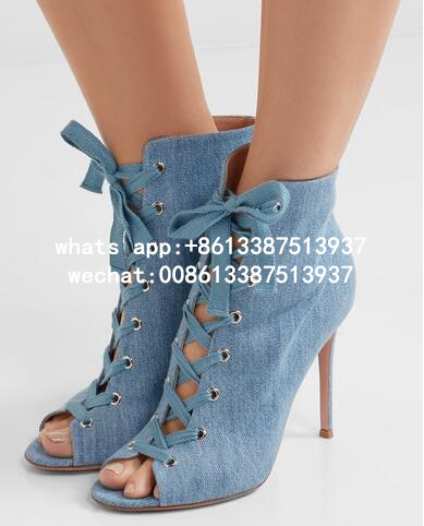 Drop Shipping 2017 New Fashion Women Denim Peep Toe Cuts Out Lace Up Front Thin Heels High Heel Dress Party Pumps Jeans Pumps summer new large size denim shorts female high waist jeans thin 2017 new fashion women slim belly short pant