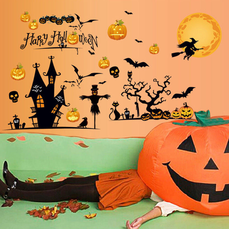 new halloween pumpkin bat wall decor diy pvc show window all saints day stickers decals - Halloween Wall Decor