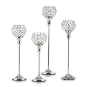 Crystal Vintage Candle Holders Stand Metal Candlesticks Wedding Table Centerpieces Christmas Halloween Decoration for Home