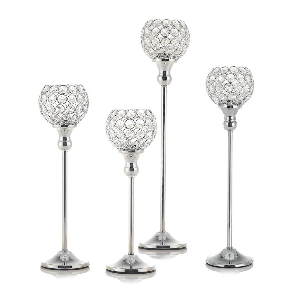 2 Stücke Silber Kristall Kerze Teelicht Halter Leuchter Stand Home Party Urlaub Dekoration Mutter Der Tag Tisch Mittelstücke Haus & Garten
