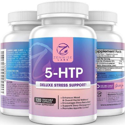 5-HTP-Con 100 mg de 5 HTP + Vitamina B6 Totalmente Natural Supresor Del apetito y Ayuda para Dormir-Aliviar El Estrés-120 Cápsulas vegetales