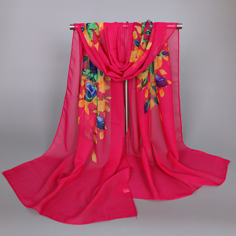 Luxury Brand Women Chiffon Silk   Scarf   Pashmina Fashion Lady Girls Flower Beach   Scarves   Female   Scarves     Wrap   Shawl Lic