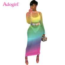 Adogirl Changing Color Fishnet Women Summer Dress O Neck Long Sleeve Bodycon Maxi Night Club Party Dresses Beach Tunic Vestidos