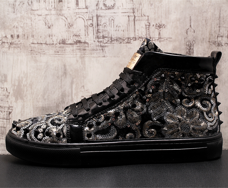Stephoes 2019 Men Fashion Casual Ankle Boots Spring Autumn Rivets Luxury Brand High Top Sneakers Male High Top Punk Style Shoes 62