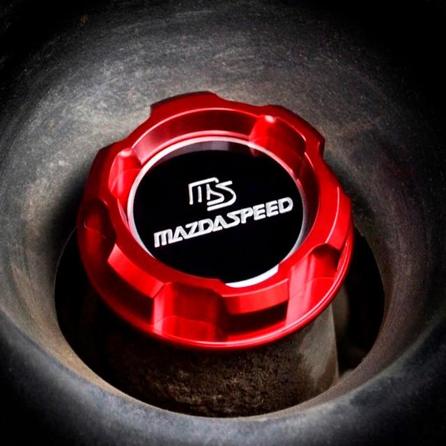 Engine Oil Cap Mazdaspeed Emblem Red Aluminum For Mazda Rx7 Rx8 323