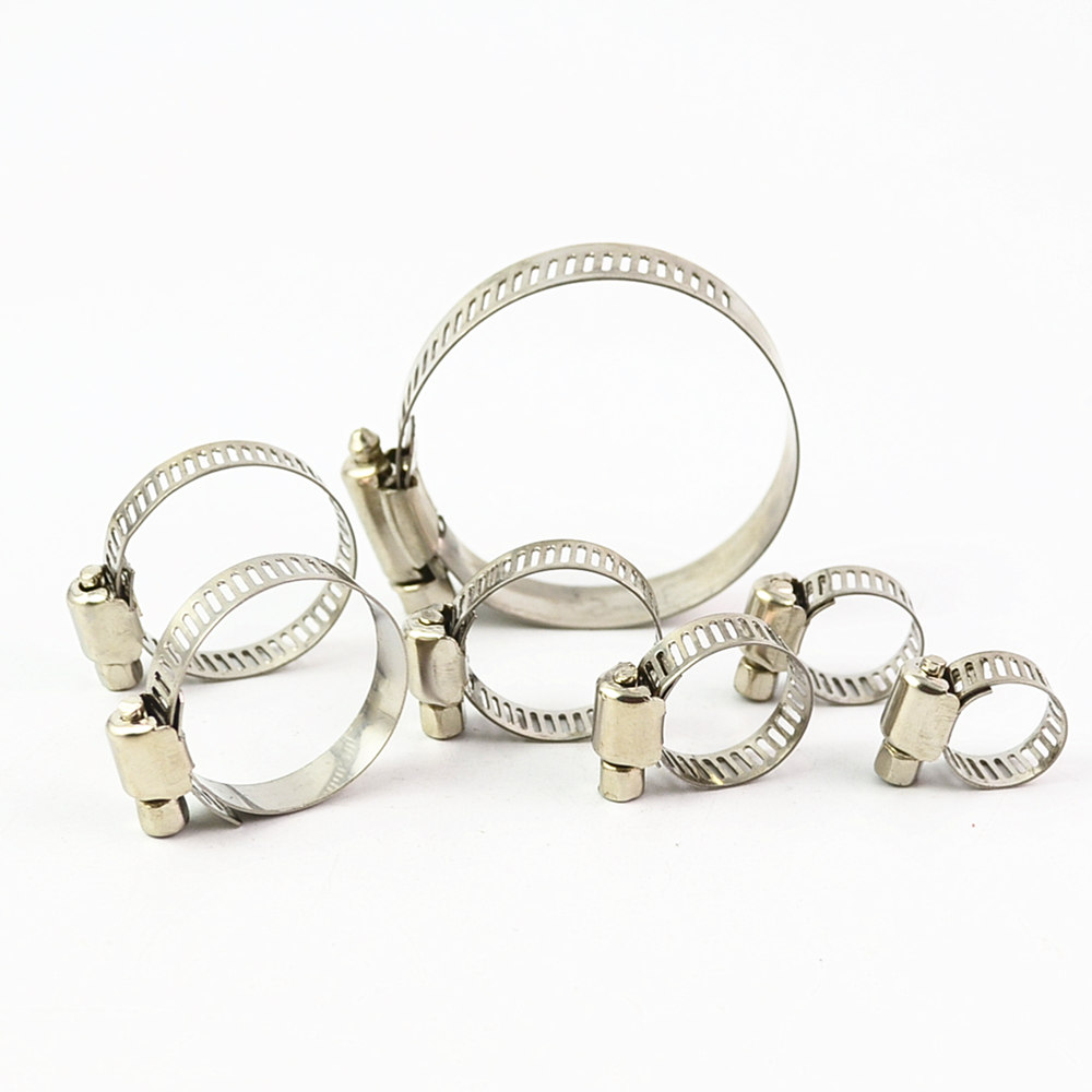 10Pcs Adjustable Screw Worm Drive Hose Clamp 304 Stainless Steel Hose Hoop Pipe Clamp Clip 35mm 110mm 304 stainless steel saddle clamp antirust cable clip water pipe fixing bracket clamp