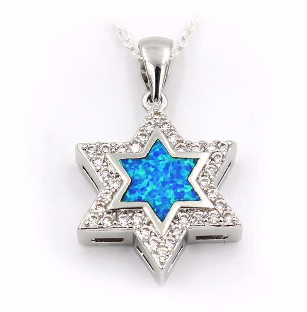 Nice star of david blue fire opal pendant necklace in chain nice star of david blue fire opal pendant necklace mozeypictures