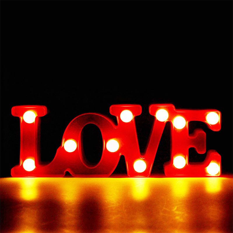 Батарея действовали led любовное письмо ночник знаковое событие дома лампы Свадебный декор